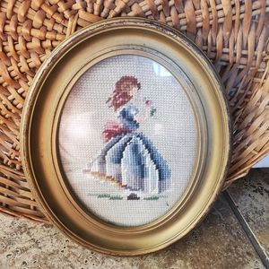 Vintage cross stitch little girl portrait